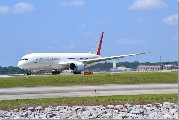 The first S.C.-made Dreamliner rests on the runway at Charleston International Airport on Wednesday. (Photo/Matt Tomsic)