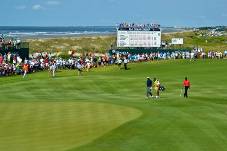 Spectators watch as professional golfers from around the world compete at the 2012 PGA Championship on Kiawah Island over the weekend. (Photo/Leslie Burden)
