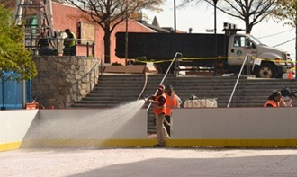 City of Greenville crews prepare the ice skating rink for Ice on Main last year. (Photo/File)