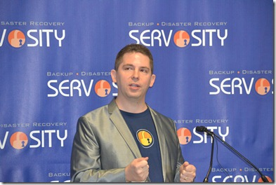 Servosity is hiring for 30 high-tech positions in Greenville, CEO Damien Stevens said during the company's announcement Monday at the Next Innovation Center in Greenville. (Photo/Liz Segrist)
