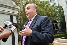 Assistant U.S. Attorney Mark Moore talks to reporters. (Photo/Leslie Burden)