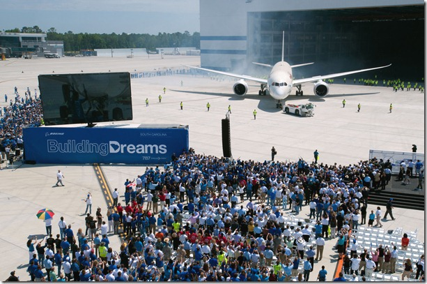 Boeing S.C. employees gather outside the plant as the site's first 787 rolls out of the hangar. (Photo/Boeing)