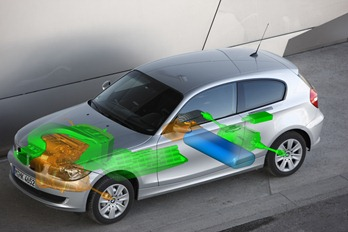 A BMW concept drawing shows how a fuel cell power system might fit into a BMW car. (Photo/BMW)