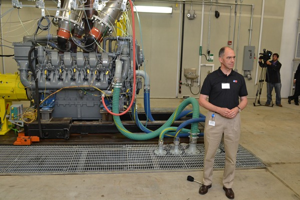 Joerg Klisch, vice president for operations in North America, gives a tour of the Tognum R&D facility at Graniteville in Aiken County. (Photo/James T. Hammond)
