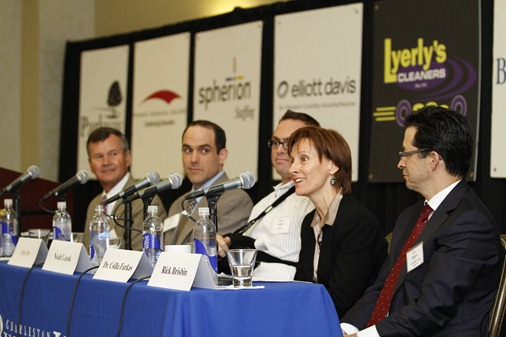 Panelists at Charleston Regional Business Journals Power Breakfast discuss cyberspace, and how the area presents opportunity for the Lowcountry. (Photo/Kim McManus