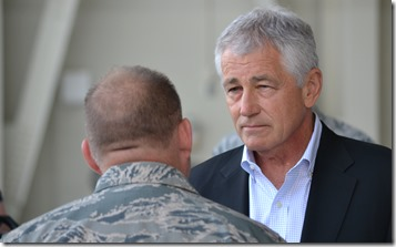 U.S. Secretary of Defense Chuck Hagel visited Joint Base Charleston today. (Photo/Matt Tomsic)