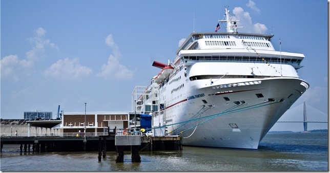 The Carnival cruise ship Fantasy is docked along Charleston Harbor in this file photo. (Photo by Leslie Burden)