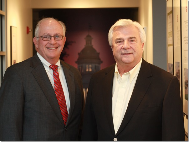 Ashby Gressette, left, is the new president of Stevens & Wilkinson, while Robert Lyles becomes chairman emeritus. (Photo provided)