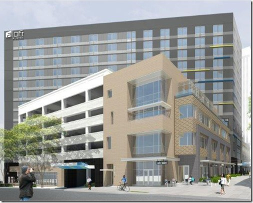 The city of Greenville's design review board approved plans in October for Aloft Hotel, which will cost around $30 million including construction of the parking lot below it. (Rendering provided)