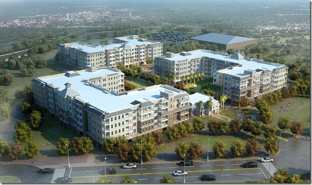 Daniel Corp. and life insurance company MetLife Inc. are building a 324-unit luxury apartment community in Mount Pleasant called Bridgeside at Patriots Point. (Rendering/Provided/Daniel Corp.)