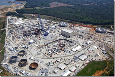 This aerial view of the new nuclear construction at the S.C.E.&G. nuclear station at Jenkinsville shows progress on two new reactors. (Photo provided by S.C. Electric & Gas Co.)