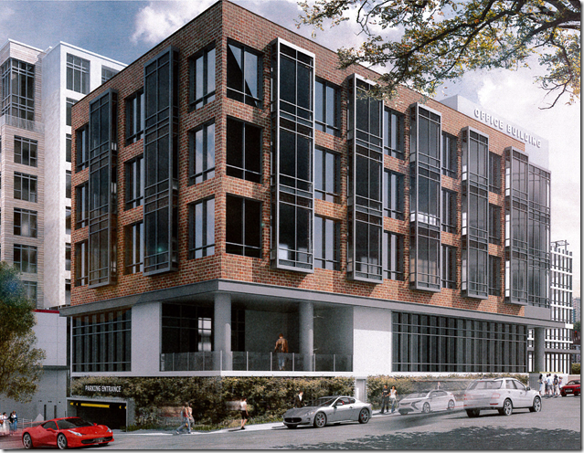 Rendering of office building at the planned mixed-use project on The Greenville News site. (Image provided)