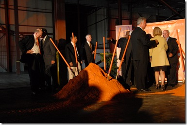 A pile of orange-colored dirt holds shovels after the ground breaking at the Clemson University wind turbine drivetrain test facility. (Photos/Leslie Halpern)